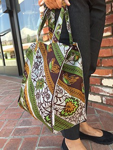 A reusable bag made by the Laboret sewing project in Kenya